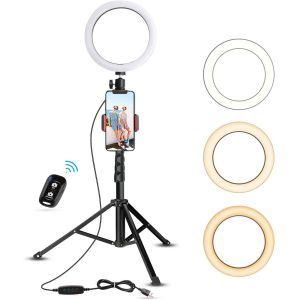 Anillo de luz con trípode y soporte- Ubeesize 8 in Selfie Ring Light with Tripod Stand set - Negro