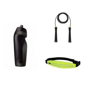 Set Nike Cangurera Waistpack Verde + Cuerda Saltar + Termo