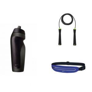 Set Nike Cangurera Waistpack Azul + Cuerda Saltar + Termo