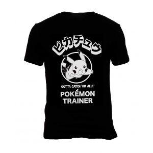 Camisa de Hombre Pokemón Pikachu - Negro