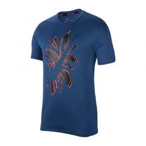 Camiseta Casual nike Hombre run ss fiesta flora Azul