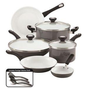 Set de Ollas + Sartenes + Utensilios de Cocina + 12 Pieza + Gris