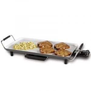 Oster  DuraCeramic Electric Griddle, 10.5 por 18.5 Inch, Blanco