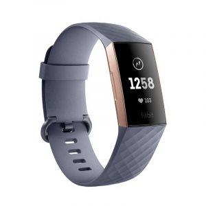 """Fitbit """" Charge 3 Reloj deportivo / Monitor de ritmo cardiaco """" Gris azulado / Aluminio color oro rosa"""