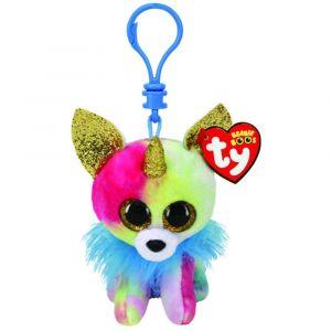 Ty Peluches Beanie Boos Peluche de Yips Chihuahua Unicornio Multicolor - Llavero con Clip