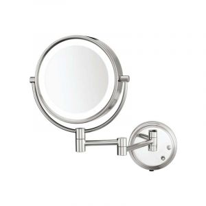 Two Sided Led Lighted Wall Mount Mirror Standard And 5X Magnification 8.5 Inch Diameter