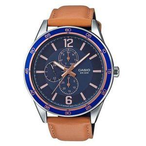 Reloj Analógico Hombre Casio MTP E319L 2B Cronógrafo  Marrón con Azul