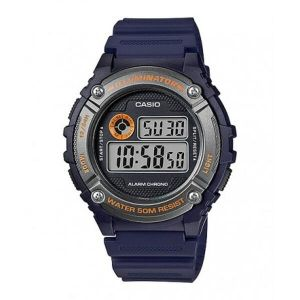 Reloj Digital Hombre Casio W 216H 2B  Azul con Naranja