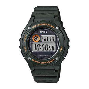 Reloj Digital Hombre Casio W 216H 3B  Negro con Naranja